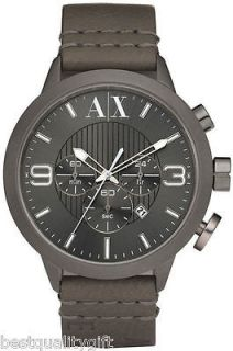 ARMANI EXCHANGE GRAY,GREY LEATHER GUN METAL CHRONOGRAPH WATCH AX1153 N