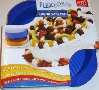 FLEXFORM ROUND CAKE PAN SILICONE BLUE or RED 9X2 BAKING MOLD