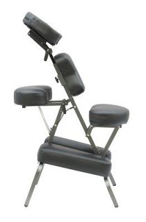 New Black 4 Portable Massage Chair Tattoo Spa Free Carry Case