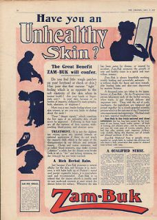 FP 1914 ZAM BUK HERBAL BALM SKIN CREAM QUACK NURSE CURE AD