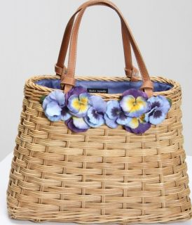 AUTHENTIC KATE SPADE PURSE HANDBAG TOTE WICKER WEAVE W/PANSIES ACCENT