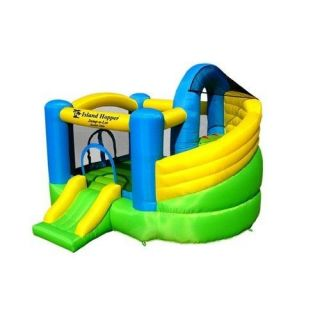 Island Hopper Curved Double Slide Inflatable Bounce House Gift for