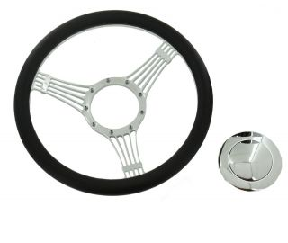 Billet Chrome Wrap Leather Banjo Steering Wheel &Smooth Horn Button