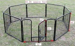 Black 8 Panel 40 Heavy Duty Pet Playpen Dog Exercise Pen Cat Fence B