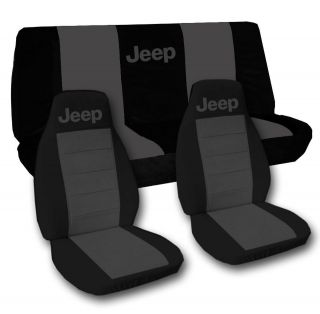 Jeep wrangler YJ front+back car seat covers black charcoal w/Jeep