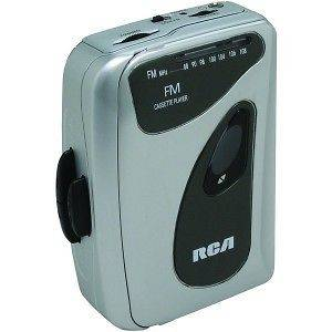RCA SILVER PORTABLE CASSETTE PLAYER FM RADIO EARBUDS BELT CLIP NEW