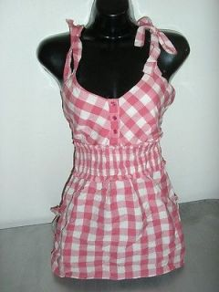 Love Lola pink white gingham plaid country girl empire tank shirt size