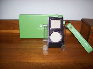 KATE SPADE NEW YORK BLACK & GREEN LEATHER MINI iPOD CASE WITH BOX