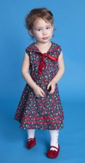 Bettie Page Clothing Taty Kids Cherry Denim Rockabilly Dress