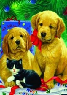 NEW LARGE TOLAND CHRISTMAS HOUSE FLAG GOLDEN RETRIEVER PUPPIES 28 x 40