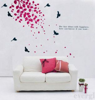 Leafs Birds Removable PVC Wall Sticker Home Decor Room Decal Large