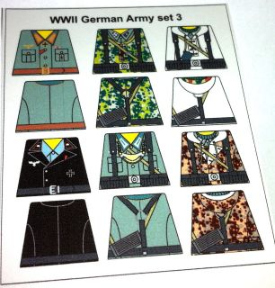 NEW Custom stickers for lego german soldiers   set 3 WW2 german