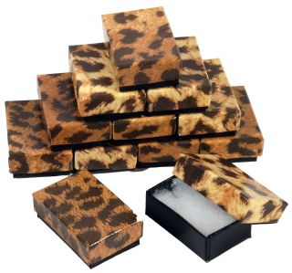 12 Leopard Print Cotton Filled Gift Boxes 1 7/8 x 1 1/4 Jewelry