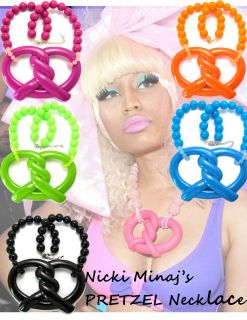 NICKI MINAJ Inspired Pretzel Pendant Necklace 18 inch 18mm Ball Chain