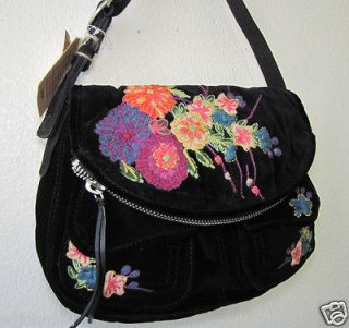 Lucky Brand Stash Velvet Embroidered handbag bag purse Black NWT