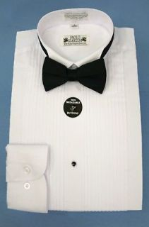Mens Tuxedo Shirt White With Bow Tie Convertible Cuffs