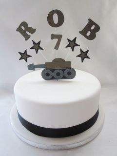 PERSONALISED ARMY TANK & STARS BIRTHDAY CAKE TOPPER TOPPER DECORATION
