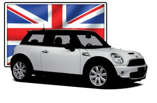 Mini Cooper   BMW BMC British Flag Sports Car Rally Racing Retro