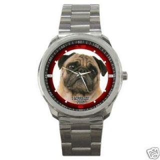 MY CUTE PUG PET DOG Round Sports Watch Gift Item