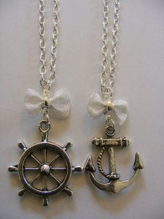 Best Friends Forever Love you Necklace Anchor Sailor Nautical