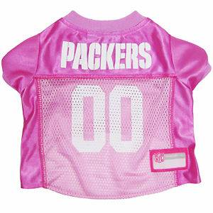 Green Bay Packers NFL pet dog football jersey Pink (all sizes)