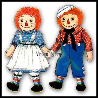 Vintage Raggedy Ann and Andy Pattern ~ 19 tall