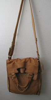 Lucky Brand Leather Abbey Road Foldover Crossbody Bag Dune NWT