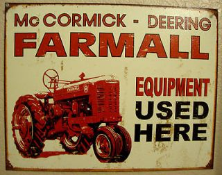 DEERING FARMALL Farm Tractor Equipment Vintage Antique Look Metal Sign