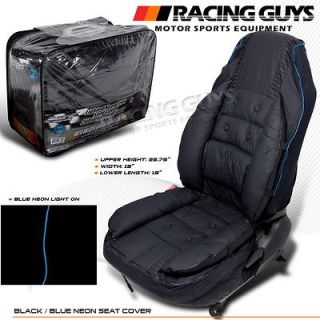 NISSAN TOYOTA MAZDA BLACK+BLUE NEON STRIPE VIP STYLE PCV LEATHER CAR