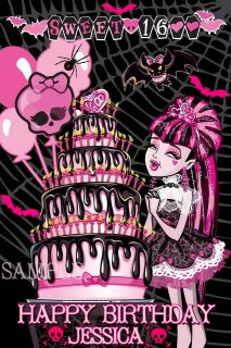 BIRTHDAY MONSTER HIGH DRACULAURA EDIBLE CAKE TOPPER IMAGE DECORATIONS