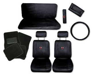 Sport Jersey Black Car Truck Seat Covers 9pc Pkg with Black Floor Mats