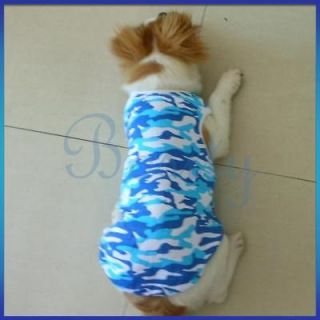Pet Dog Tank Top Shirt Vest Clothes Apparel Blue/Whit Camo XL for