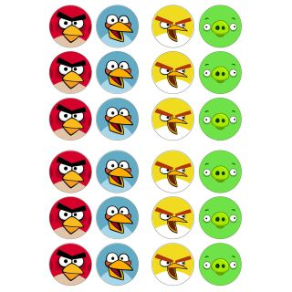 Angry Birds Game 24x Edible Cup Cake Topper