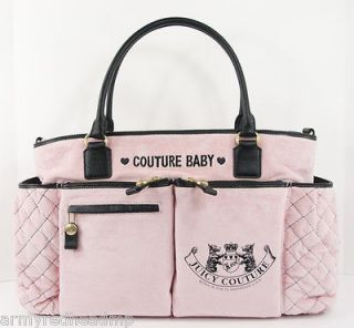 NEW JUICY COUTURE PINK BLACK LEATHER VELOUR X LARGE BABY DIAPER BAG