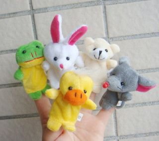 HOT 5X Animal Finger Puppet,baby toys, plush toys. Soft Puppy Child