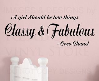 Wall Decal Quote Sticker Vinyl Art Lettering Classy and Fabulous Coco