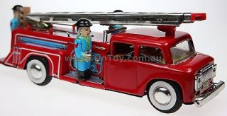 FRICTION MOTOR TIN TOY FIRE ENGINE TRUCK SIREN & BELL COLLECTIBLE