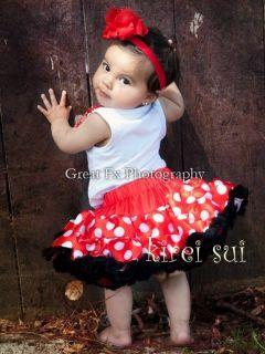 Red White Polka Dots Minnie Mouse Pettiskirt Birthday Party Tutu 1 2