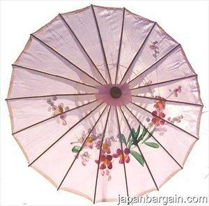 Kids Oriental Japanese Chinese Asian Umbrella Parasol Kasa 22in Pink