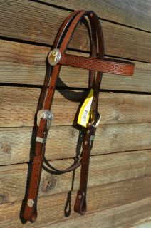 Hand Carved Basket Weave Tooled Silver Barrel Racer Concho Headstall