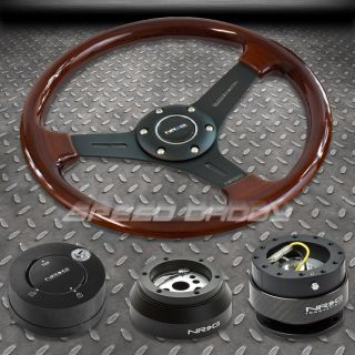 NRG WOOD STEERING WHEEL+HUB+CARB​ON QUICK RELEASE+LB LOCK KIT 69 02