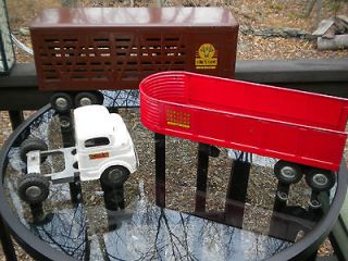 Structo Cab and 2 Trailers Grain and Cattle   Pressed Steel Truck