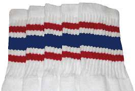 "22"" KNEE HIGH WHITE tube socks with RED/ROYAL BLUE stripes style 3"