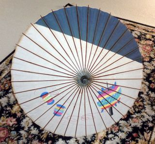 Vintage 1940s Japan Bamboo and Paper Umbrella with painted Lanterns