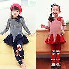 Girl Kids Stripe Top Swing Dress+Leggings 2PCS Outfit Costume Clothes