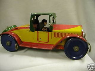 MARX RARE VINTAGE WIND UP TIN TOY SPORTS COUPE CAR AUTO 1930S 110 E