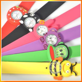 Cute Kids Boy Girl Childrens Rubber Snap on Slap Cuff Watch Gift