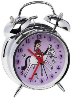 Girls/Childs HORSE/PONY RIDER ALARM CLOCK BNIB purple/lilac/riding