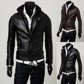 Man Slim Fit Outerwear Warm Short Coat Men Winter Motorcycle Faux