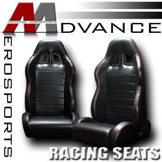 2x PVC Leather Black & Red Stitch Reclinable Racing Bucket Seats